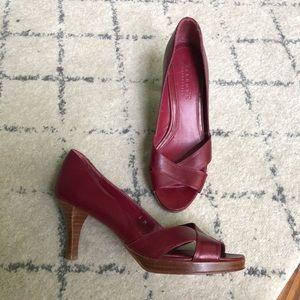 Talbots Collection burgundy peep toe stacked heel